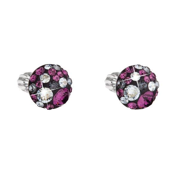 Stříbrné náušnice pecka s krystaly Swarovski fialové kulaté 31336.3 dark amethyst 31336.3
