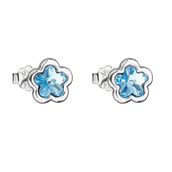 Stříbrné náušnice pecka s krystaly Swarovski modrá kytička 31255.3 31255.3