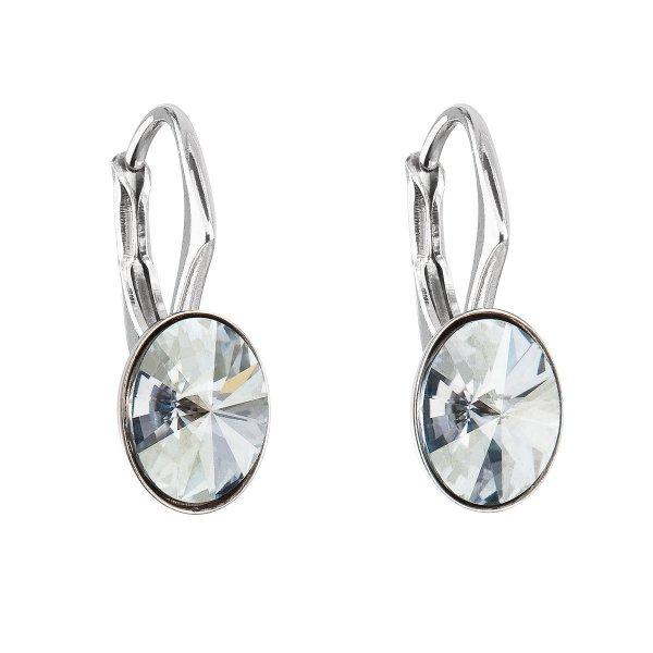 Stříbrné náušnice visací s krystaly Swarovski modrý ovál 31276.5 31276.5