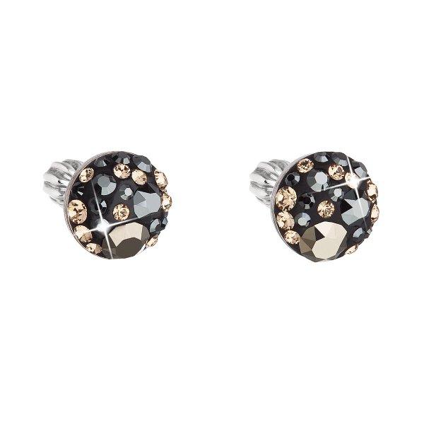 Stříbrné náušnice pecka s krystaly Swarovski mix barev kulaté 31336.4 colorado 31336.4