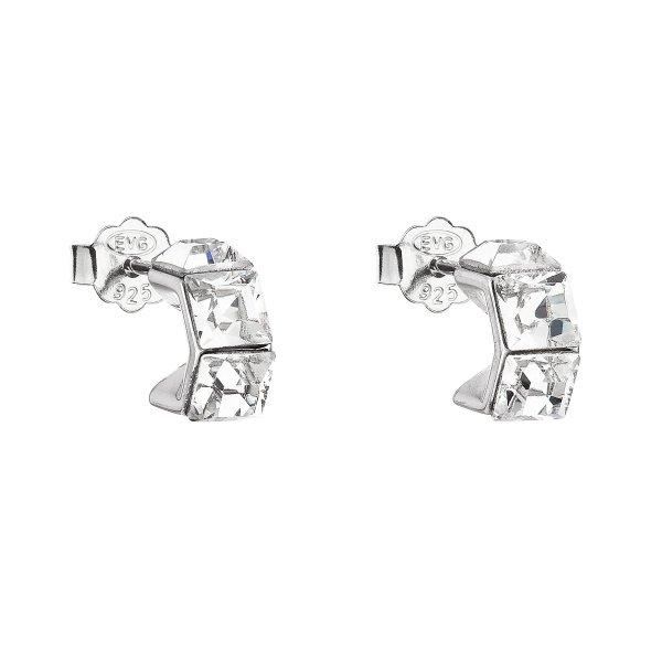 Stříbrné náušnice pecka s krystaly Swarovski bílá kostička 31253.1 31253.1
