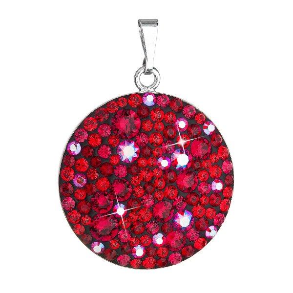 Stříbrný přívěsek s krystaly Swarovski červený kulatý 34131.3 cherry 34131.3