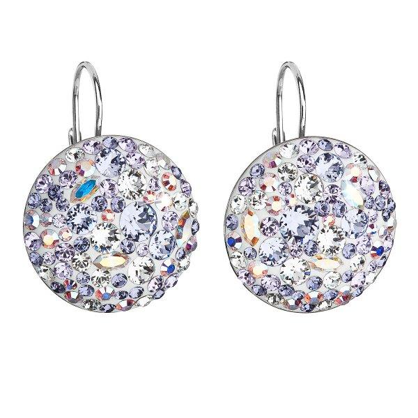 Stříbrné náušnice visací s krystaly Swarovski fialové kulaté 31161.3 violet 31161.3 VIOLET