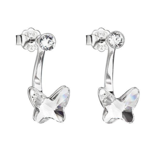 Stříbrné náušnice dvojité s krystaly Swarovski bílý motýl 31247.1 31247.1