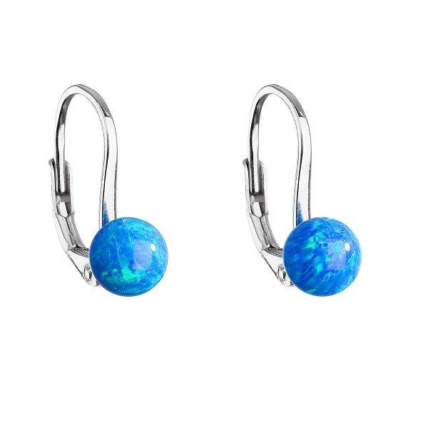 Stříbrné visací náušnice se syntetickým opálem modré kulaté 11242.3 11242.3