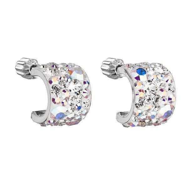 Stříbrné náušnice visací s krystaly Swarovski půlkruh 31280.2 ab 31280.2