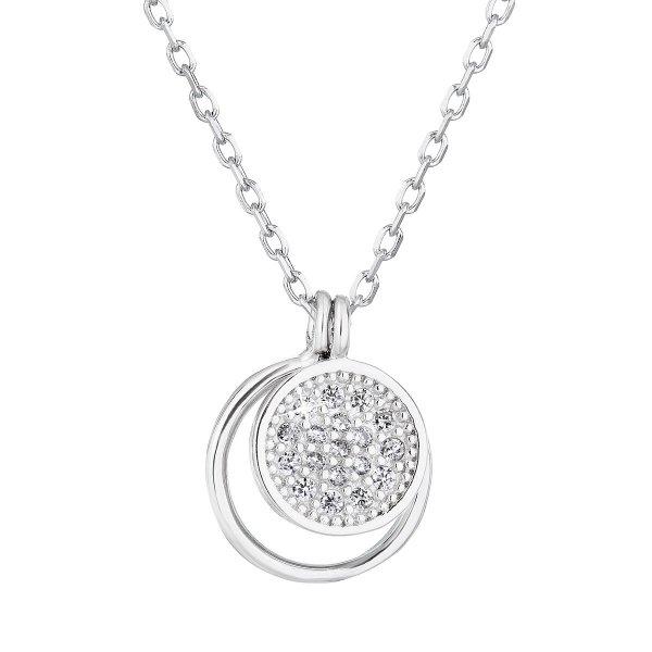 Stříbrný náhrdelník se zirkonem bílý kulatý 12011.1 12011.1