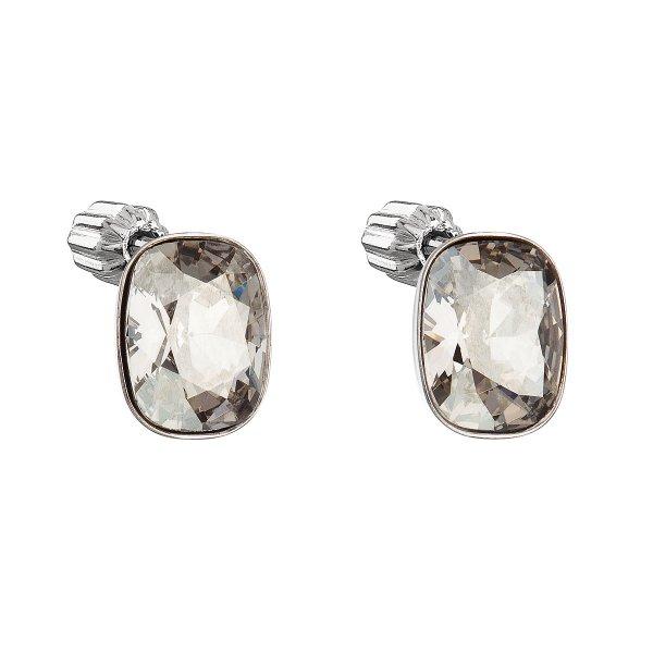 Stříbrné náušnice pecka s krystaly Swarovski šedý obdélník 31279.5 31279.5