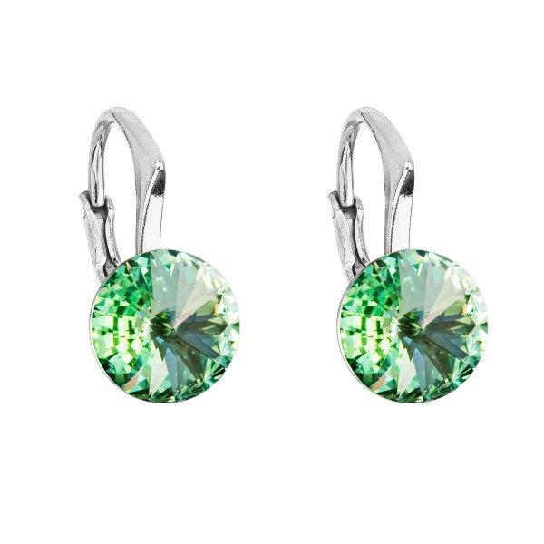 Stříbrné náušnice visací s krystaly Swarovski zelené kulaté 31229.3 chrysolite 31229.3