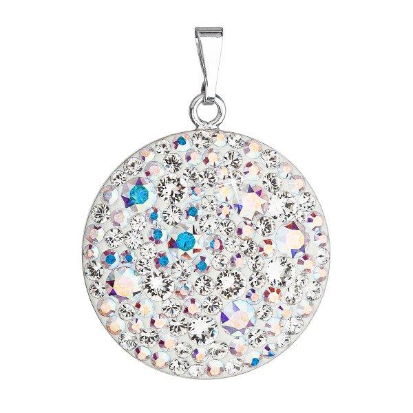 Stříbrný přívěsek s krystaly Swarovski ab efekt kulatý 34131.2 34131.2