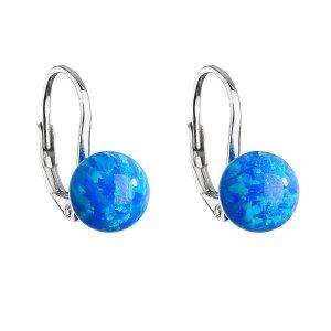 Stříbrné visací náušnice se syntetickým opálem modré kulaté 11245.3 11245.3