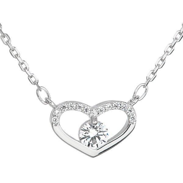 Stříbrný náhrdelník se zirkonem bílé srdce 12008.1 12008.1