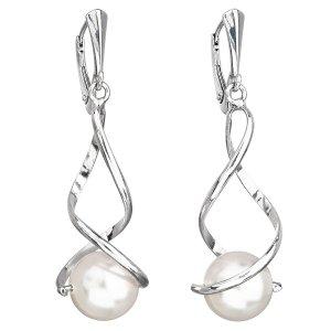 Stříbrné náušnice visací s perlou Swarovski bílé kulaté 31224.1 31224.1