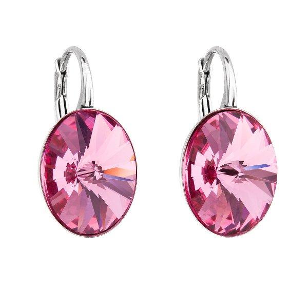 Stříbrné náušnice visací s krystaly Swarovski růžový ovál 31275.3 31275.3