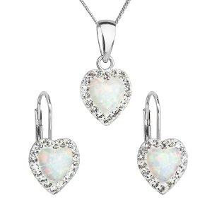 Sada šperků se syntetickým opálem a krystaly Swarovski náušnice a přívěšek bílé srdce 39161.1 39161.1