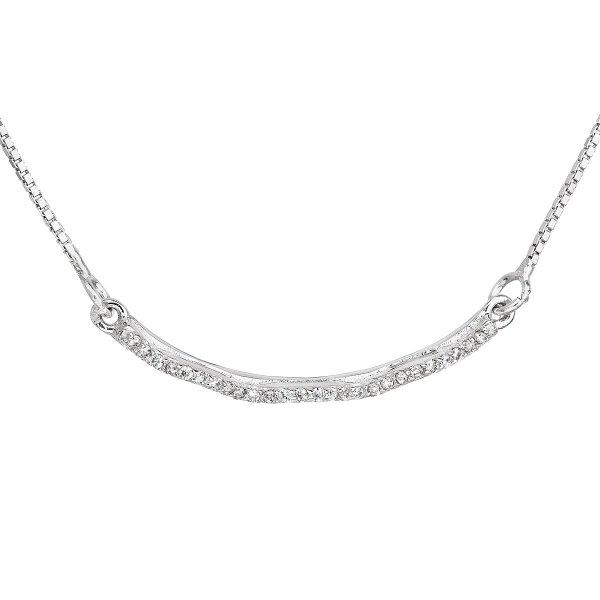 Stříbrný náhrdelník se zirkonem v bílé barvě 12023.1 12023.1