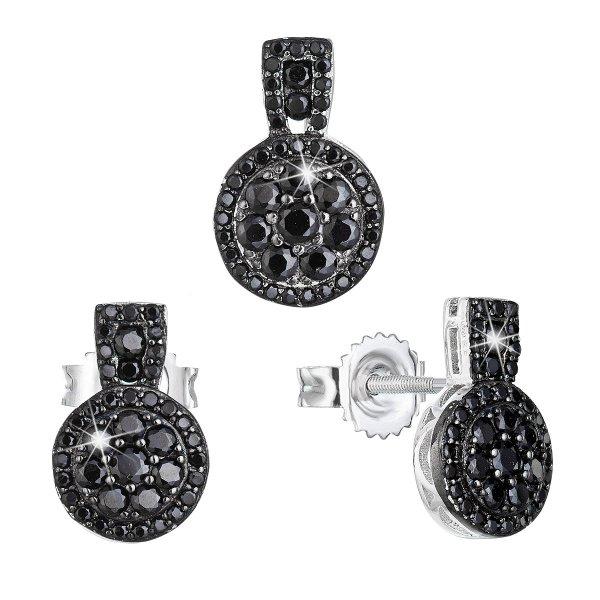 Sada šperků se zirkonem náušnice a přívěsek černé kulaté 19024.3 19024.3