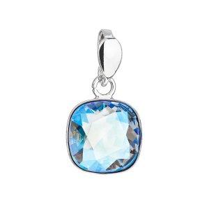 Stříbrný přívěsek s krystalem Swarovski modrý čtverec 34224.3 light sapphire shimmer 34224.3