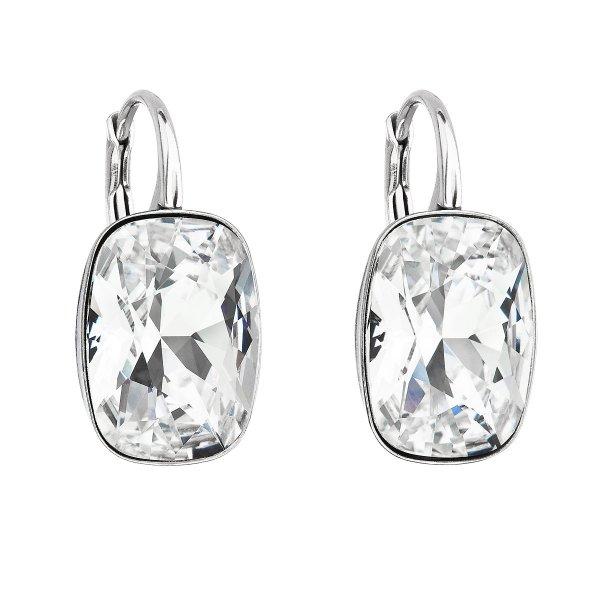 Stříbrné náušnice visací s krystaly Swarovski bílý obdélník 31277.1 31277.1