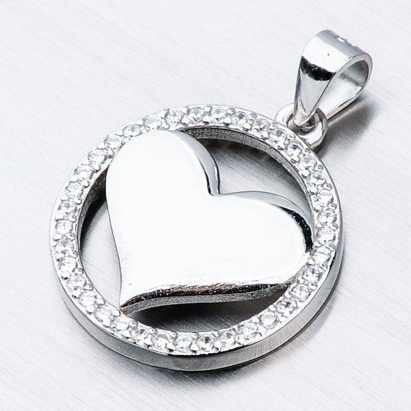 Stříbrný přívěsek srdce HST-13499