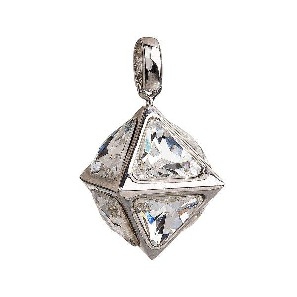 Stříbrný přívěsek s krystaly Swarovski bílý 34809.1 34809.1