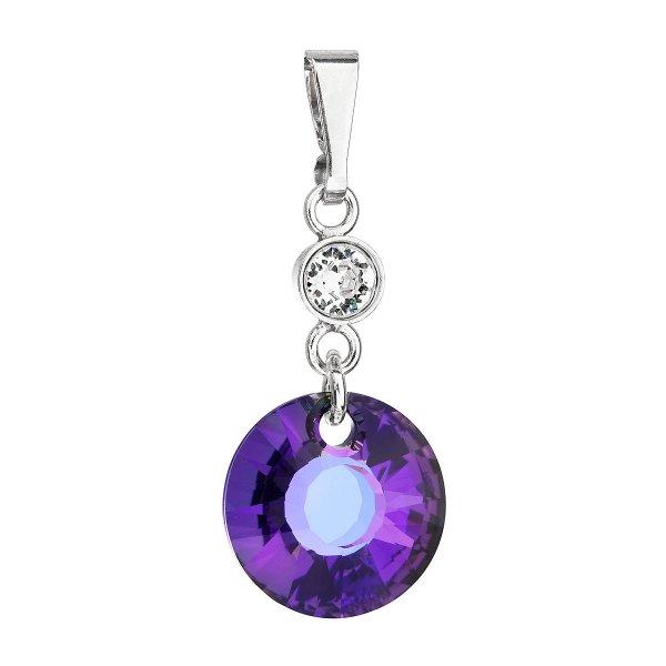 Stříbrný přívěsek s krystaly Swarovski fialový kulatý 34216.5 heliotrope 34216.5