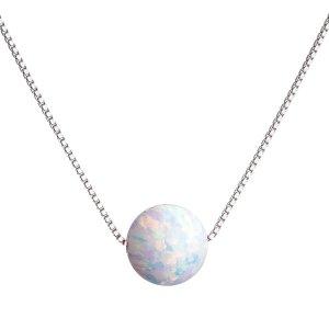 Stříbrný náhrdelník se syntetickým opálem bílý kulatý 12044.1 12044.1