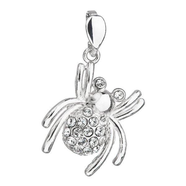 Stříbrný přívěsek s krystaly Swarovski bílý pavouk 34220.1 34220.1