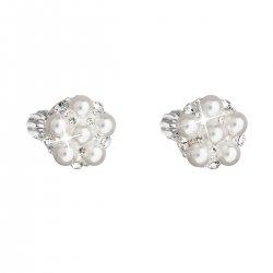 Stříbrné náušnice pecka s krystaly Swarovski bílé kulaté 31336.9 31336.9
