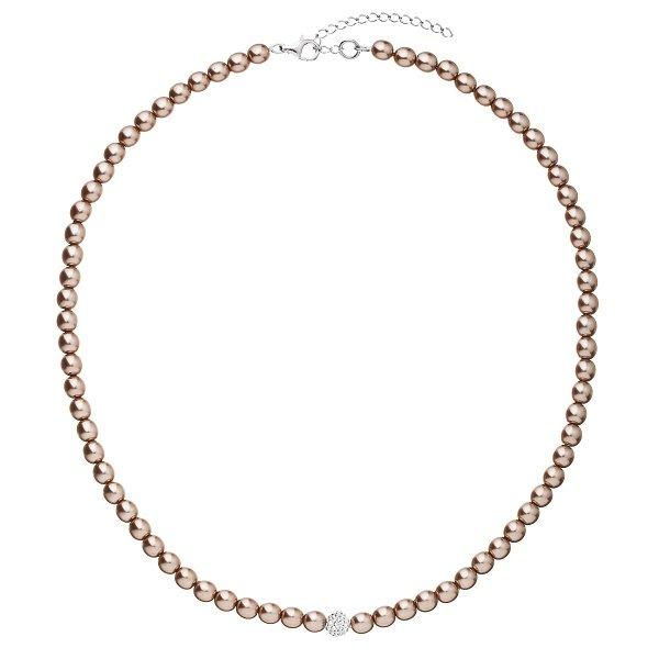 Perlový náhrdelník hnědý s krystaly Swarovski 32063.3 32063.3