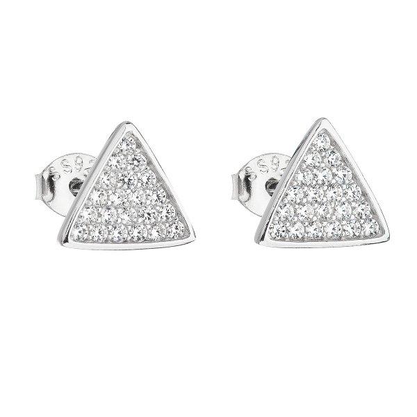 Stříbrné náušnice pecka se zirkonem bílý trojúhelník 11161.1 11161.1