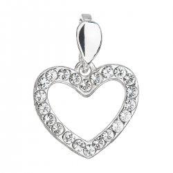 Stříbrný přívěsek s krystaly Swarovski bílé srdce 34219.1 34219.1