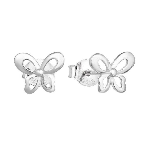 Stříbrné náušnice pecka se zirkonem bílý motýl 11060.1 11060.1