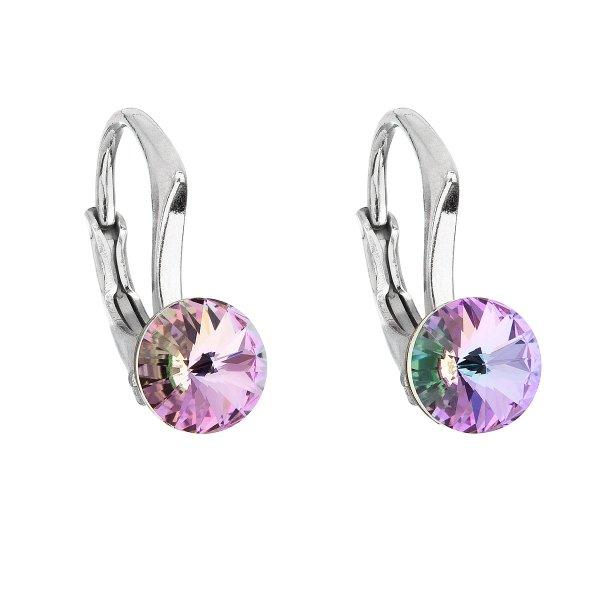 Stříbrné náušnice visací s krystaly Swarovski fialové kulaté 31230.5 31230.5