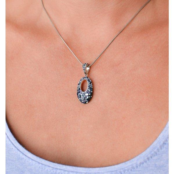 Sada šperků s krystaly Swarovski náušnice a přívěsek modrý ovál 39075.3 blue style 39075.3