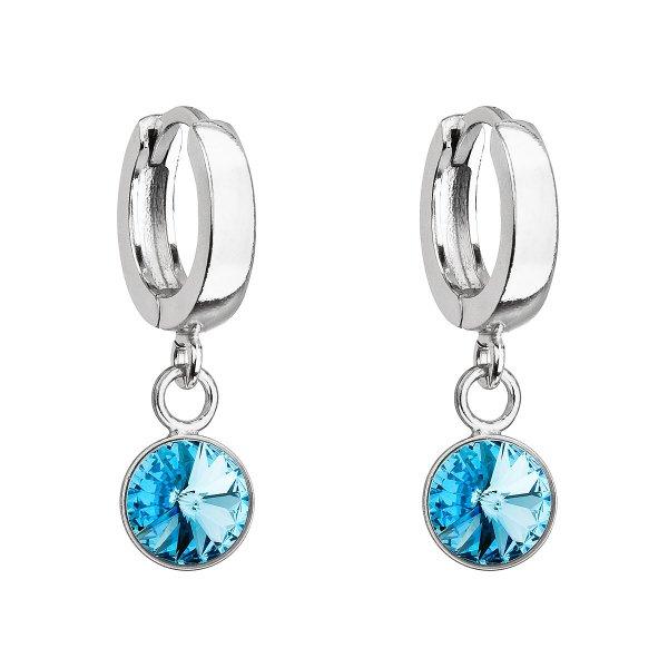 Stříbrné visací náušnice kroužky se Swarovski krystalem 31300.3 aqua 31300.3