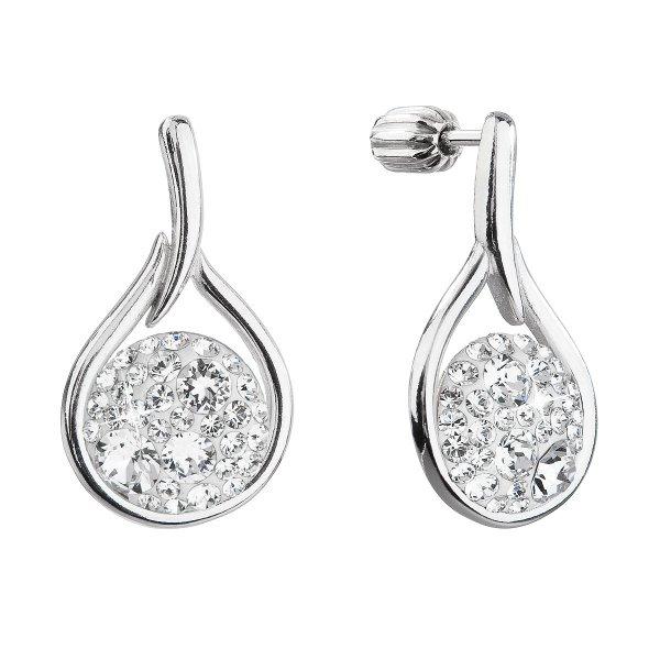 Stříbrné visací náušnice kapky se Swarovski krystaly 31305.1 bílé 31305.1