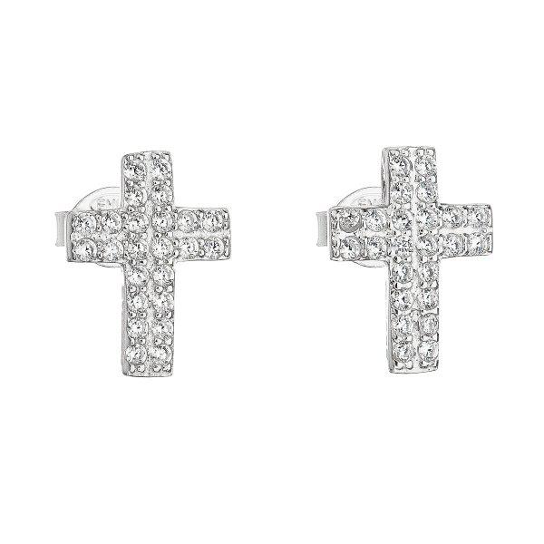 Stříbrné náušnice pecka se zirkonem bílý křížek 11068.1 11068.1