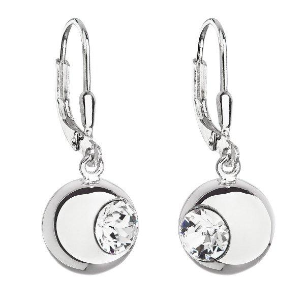 Stříbrné náušnice visací s krystaly Swarovski bílé kulaté 31260.1 31260.1