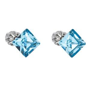 Stříbrné náušnice pecka s krystaly Swarovski modrý čtverec 31065.3 aqua 31065.3 AQUA