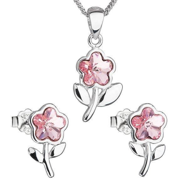 Sada šperků s krystaly Swarovski náušnice,řetízek a přívěsek růžová kytička 39172.3 light rose 39172.3