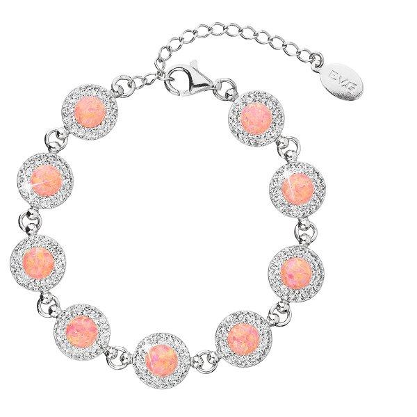 Stříbrný náramek se syntetickým opálem a krystaly Swarovski oranžový 33105.1 33105.1