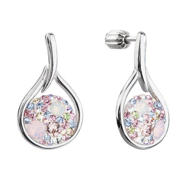 Stříbrné visací náušnice kapky se Swarovski krystaly 31305.3 magic rose 31305.3