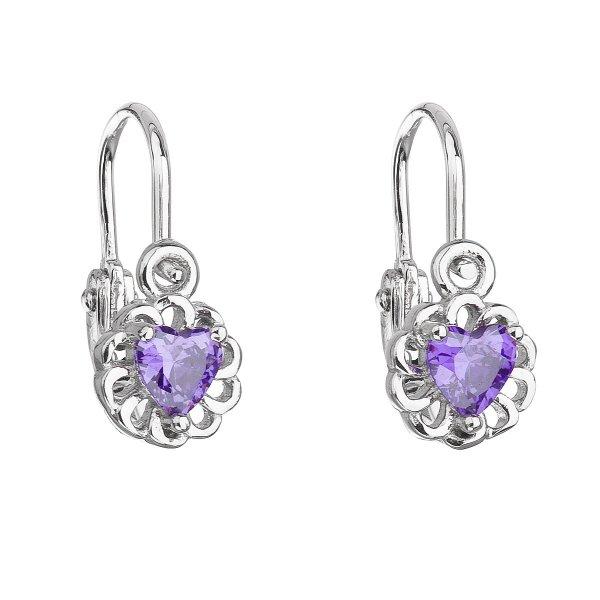 Stříbrné dětské náušnice visací se zirkonem fialové srdce 11173.3 11173.3