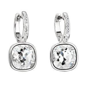 Stříbrné náušnice visací s krystaly Swarovski bílý čtverec 31220.1 31220.1