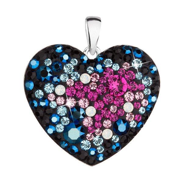 Stříbrný přívěsek s krystaly Swarovski mix barev srdce 34243.3 galaxy 34243.3