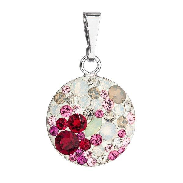 Stříbrný přívěsek s krystaly Swarovski mix barev 34225.3 sweet love 34225.3