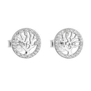 Stříbrné náušnice pecka se zirkonem v bílé barvě strom života 11218.1 11218.1