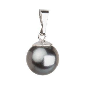 Stříbrný přívěsek s šedou Swarovski kulatou perlou 34150.3 34150.3 GREY