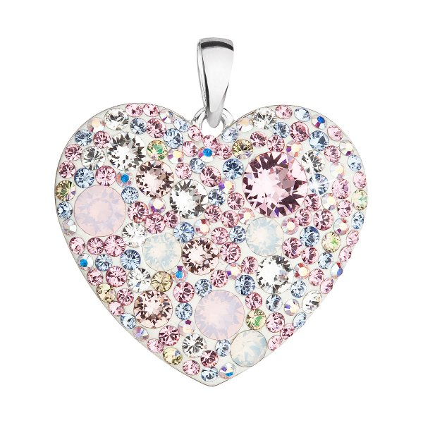 Stříbrný přívěsek s krystaly Swarovski mix barev srdce 34243.3 magic rose 34243.3